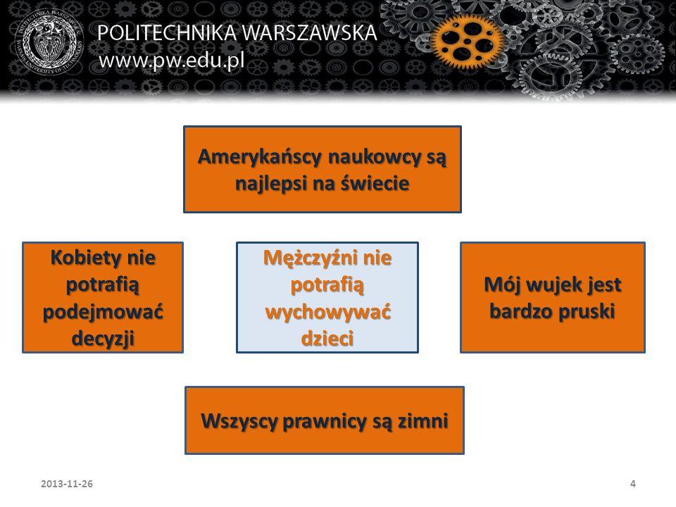52013-11-26 Świadomość stereotypów w zarządzaniu i zarządzanie nimi, jako próba racjonalizacji działań występujących w organizacji wybrane definicje pozytywne operowanie stereotypami stereotypy a zrównoważone zarządzanie