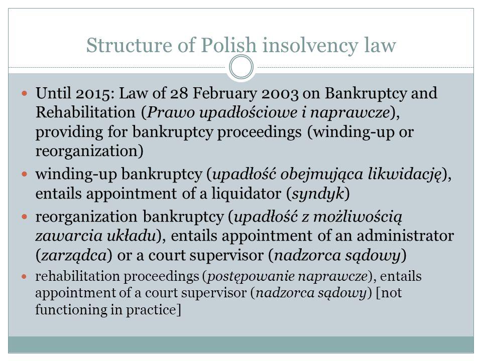 Structure of Polish insolvency law Until 2015: Law of 28 February 2003 on Bankruptcy and Rehabilitation (Prawo upadłościowe i naprawcze), providing fo