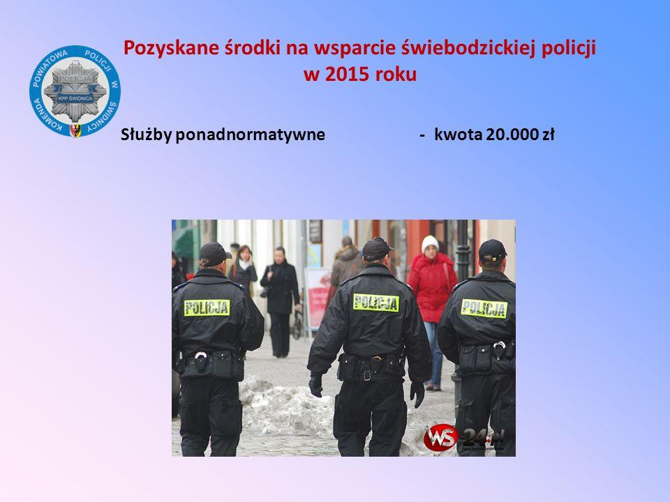 Pozyskane środki na wsparcie świebodzickiej policji w 2015 roku Służby ponadnormatywne - kwota 20.000 zł