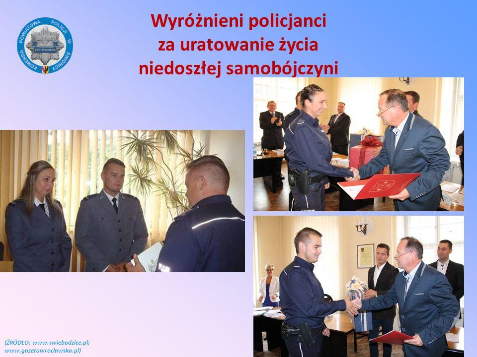 Wyróżnieni policjanci za uratowanie życia niedoszłej samobójczyni (ŹRÓDŁO: www.swiebodzice.pl; www.gazetawroclawska.pl)