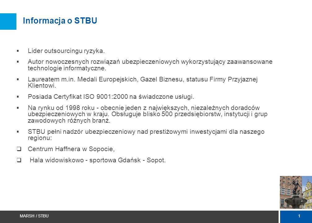 1 MARSH / STBU Informacja o STBU  Lider outsourcingu ryzyka.  Autor nowoczesnych rozwiązań ubezpieczeniowych wykorzystujący zaawansowane technologie