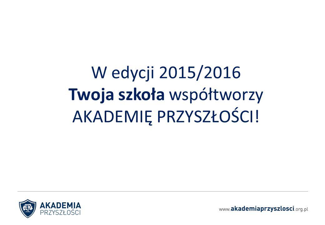 W edycji 2015/2016 Twoja szkoła współtworzy AKADEMIĘ PRZYSZŁOŚCI!
