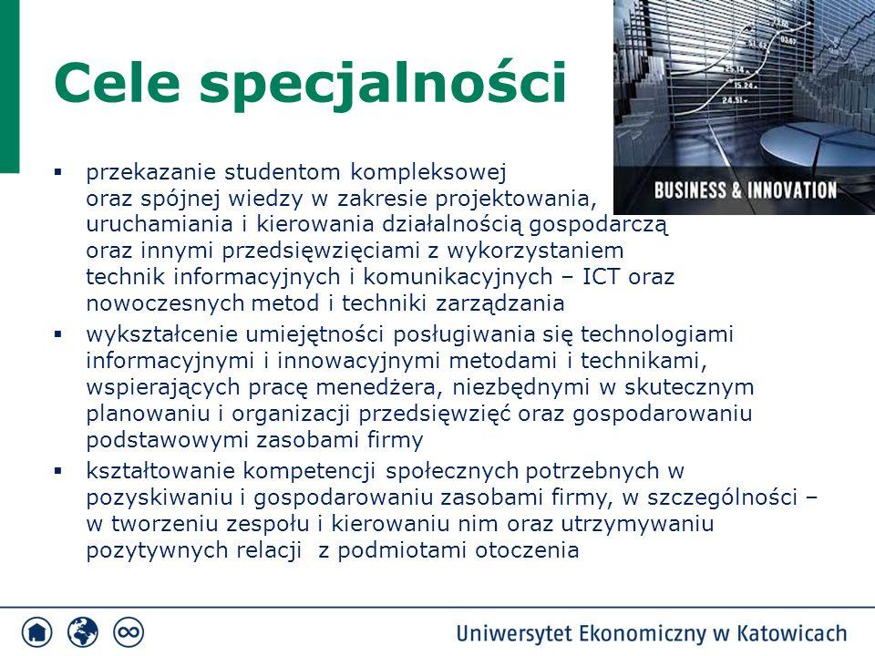Cele specjalności  przekazanie studentom kompleksowej oraz spójnej wiedzy w zakresie projektowania, uruchamiania i kierowania działalnością gospodarczą oraz innymi przedsięwzięciami z wykorzystaniem technik informacyjnych i komunikacyjnych – ICT oraz nowoczesnych metod i techniki zarządzania  wykształcenie umiejętności posługiwania się technologiami informacyjnymi i innowacyjnymi metodami i technikami, wspierających pracę menedżera, niezbędnymi w skutecznym planowaniu i organizacji przedsięwzięć oraz gospodarowaniu podstawowymi zasobami firmy  kształtowanie kompetencji społecznych potrzebnych w pozyskiwaniu i gospodarowaniu zasobami firmy, w szczególności – w tworzeniu zespołu i kierowaniu nim oraz utrzymywaniu pozytywnych relacji z podmiotami otoczenia