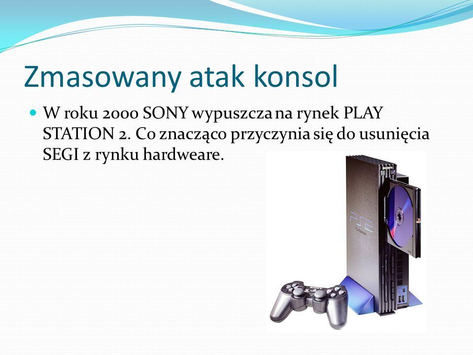 Zmasowany atak konsol W roku 2000 SONY wypuszcza na rynek PLAY STATION 2. Co znacząco przyczynia się do usunięcia SEGI z rynku hardweare.