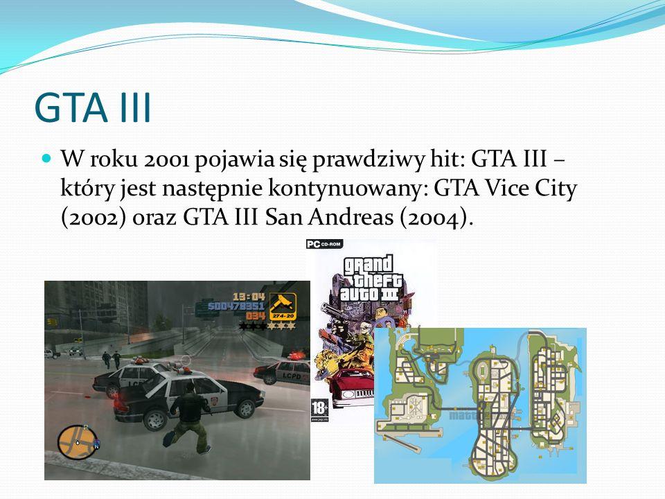 GTA III W roku 2001 pojawia się prawdziwy hit: GTA III – który jest następnie kontynuowany: GTA Vice City (2002) oraz GTA III San Andreas (2004).