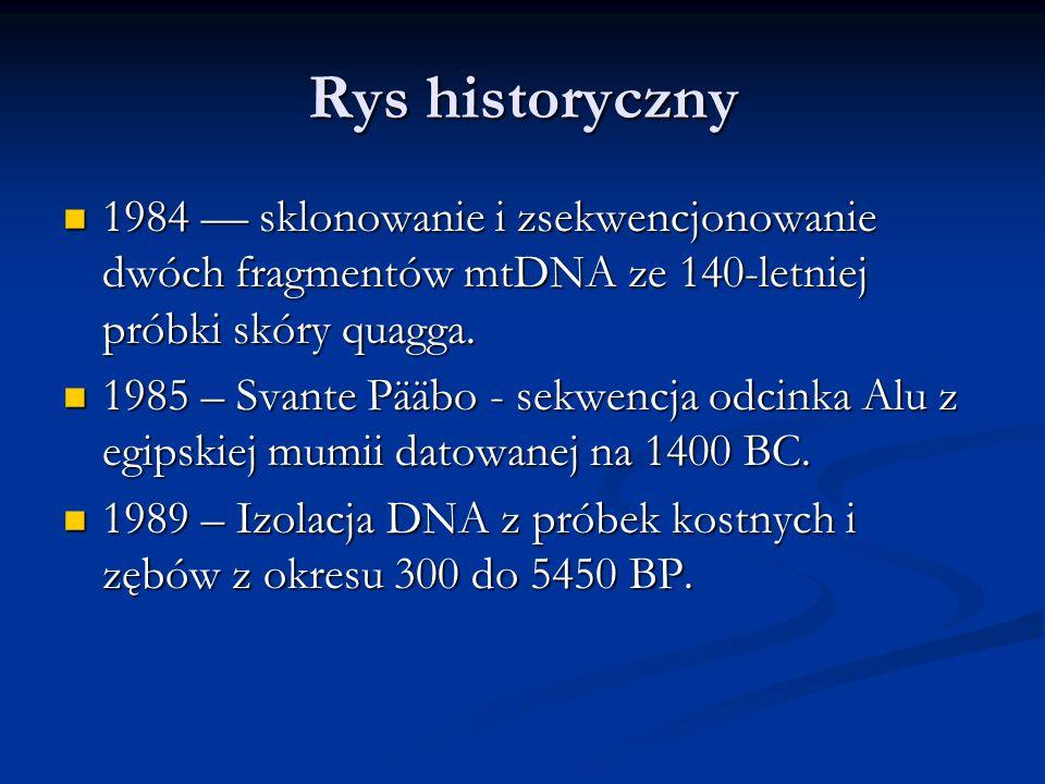 Rys historyczny 1984 –– sklonowanie i zsekwencjonowanie dwóch fragmentów mtDNA ze 140-letniej próbki skóry quagga. 1984 –– sklonowanie i zsekwencjonow