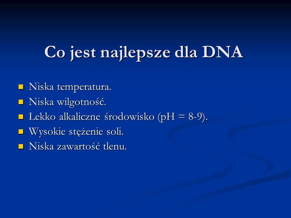 Co jest najlepsze dla DNA Niska temperatura. Niska temperatura. Niska wilgotność. Niska wilgotność. Lekko alkaliczne środowisko (pH = 8-9). Lekko alka