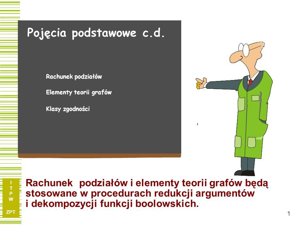 I T P W ZPT 1 Pojęcia podstawowe c.d. Elementy teorii grafów Rachunek podziałów Klasy zgodności Rachunek podziałów i elementy teorii grafów będą stoso