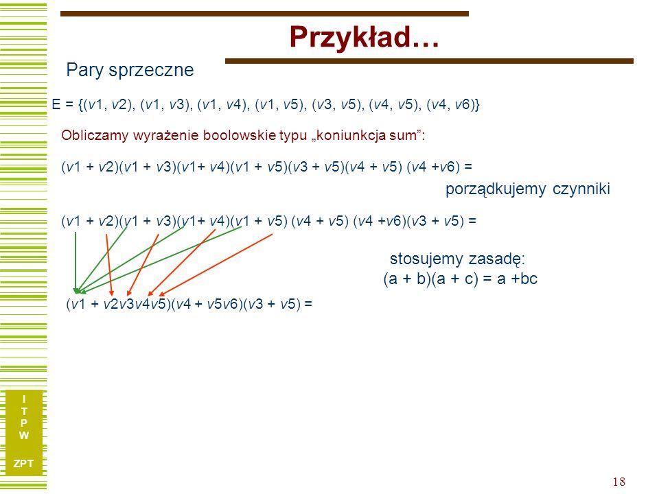 """I T P W ZPT Przykład… Obliczamy wyrażenie boolowskie typu """"koniunkcja sum : Pary sprzeczne E = {(v1, v2), (v1, v3), (v1, v4), (v1, v5), (v3, v5), (v4, v5), (v4, v6)} (v1 + v2)(v1 + v3)(v1+ v4)(v1 + v5)(v3 + v5)(v4 + v5) (v4 +v6) = (v1 + v2)(v1 + v3)(v1+ v4)(v1 + v5) (v4 + v5) (v4 +v6)(v3 + v5) = (v1 + v2v3v4v5)(v4 + v5v6)(v3 + v5) = stosujemy zasadę: (a + b)(a + c) = a +bc porządkujemy czynniki 18"""