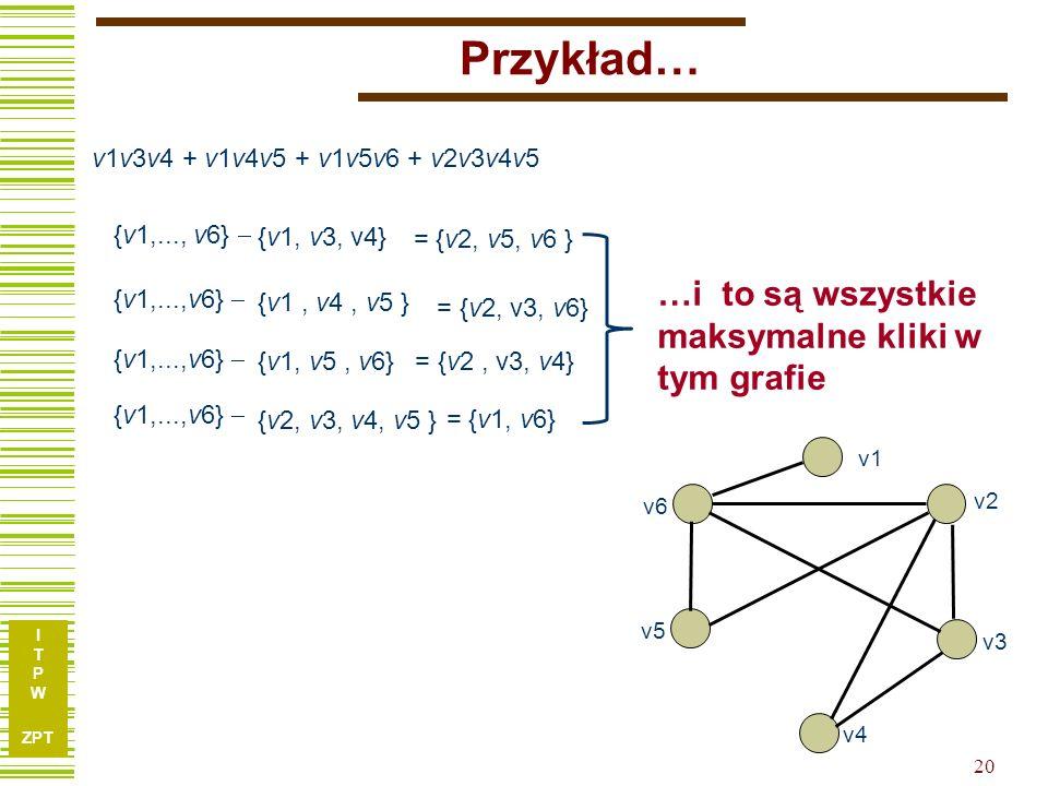 I T P W ZPT Przykład… v5 v6 v1 v2 v3 v4 v1v3v4 + v1v4v5 + v1v5v6 + v2v3v4v5 {v1, v3, v4} {v1, v5, v6} {v1, v4, v5 } {v2, v3, v4, v5 } {v1,..., v6}  = {v2, v5, v6 } = {v2, v3, v4} = {v2, v3, v6} = {v1, v6} …i to są wszystkie maksymalne kliki w tym grafie 20