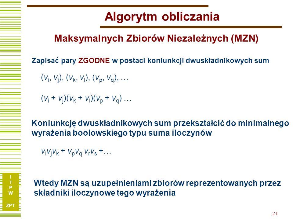 I T P W ZPT 21 Algorytm obliczania Koniunkcję dwuskładnikowych sum przekształcić do minimalnego wyrażenia boolowskiego typu suma iloczynów Zapisać pary ZGODNE w postaci koniunkcji dwuskładnikowych sum Wtedy MZN są uzupełnieniami zbiorów reprezentowanych przez składniki iloczynowe tego wyrażenia (v i, v j ), (v k, v l ), (v p, v q ), … (v i + v j )(v k + v l )(v p + v q ) … v i v j v k + v p v q v r v s +… Maksymalnych Zbiorów Niezależnych (MZN)