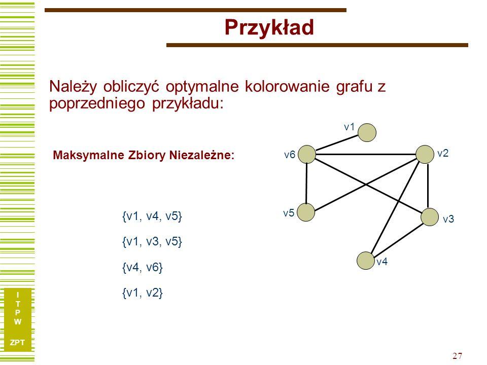 I T P W ZPT Przykład v3 v1 v2 v4 v5 v6 {v1, v3, v5} {v1, v4, v5} Maksymalne Zbiory Niezależne: {v4, v6} {v1, v2} 27 Należy obliczyć optymalne kolorowanie grafu z poprzedniego przykładu: