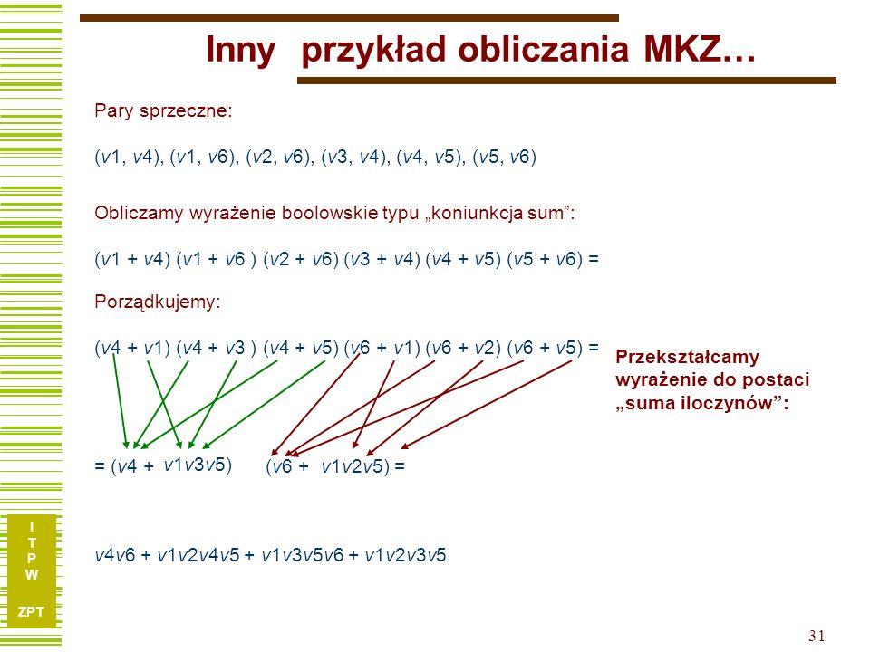 """I T P W ZPT 31 Pary sprzeczne: (v1, v4), (v1, v6), (v2, v6), (v3, v4), (v4, v5), (v5, v6) = (v4 + Przekształcamy wyrażenie do postaci """"suma iloczynów : Obliczamy wyrażenie boolowskie typu """"koniunkcja sum : (v1 + v4) (v1 + v6 ) (v2 + v6) (v3 + v4) (v4 + v5) (v5 + v6) = Porządkujemy: (v4 + v1) (v4 + v3 ) (v4 + v5) (v6 + v1) (v6 + v2) (v6 + v5) = v4v6 + v1v2v4v5 + v1v3v5v6 + v1v2v3v5 (v6 + v1v3v5) v1v2v5) = Inny przykład obliczania MKZ…"""