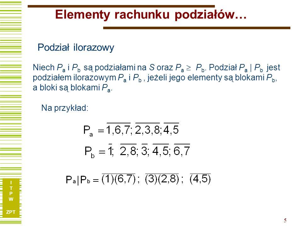 I T P W ZPT 5 Niech P a i P b są podziałami na S oraz P a  P b.