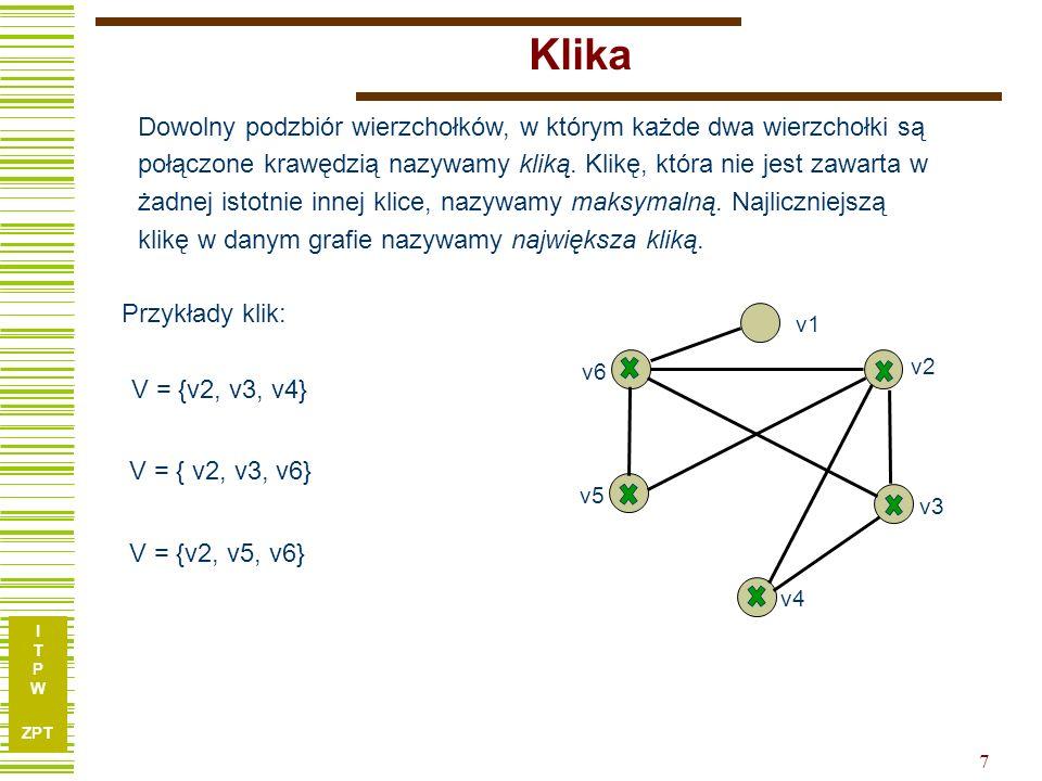 I T P W ZPT 7 Klika Dowolny podzbiór wierzchołków, w którym każde dwa wierzchołki są połączone krawędzią nazywamy kliką.