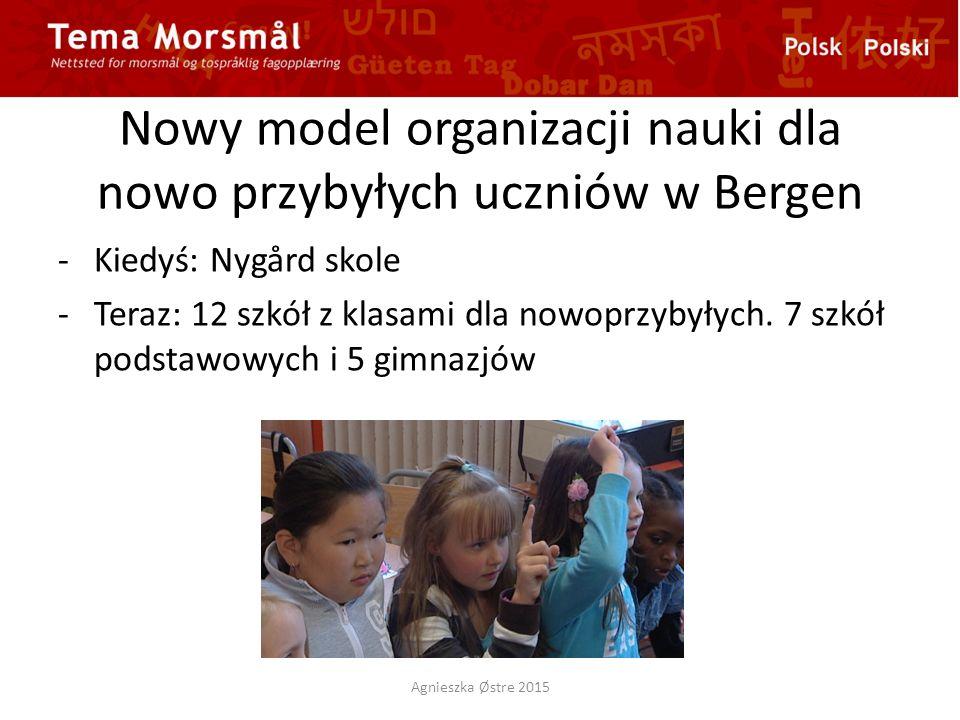 Nowy model organizacji nauki dla nowo przybyłych uczniów w Bergen -Kiedyś: Nygård skole -Teraz: 12 szkół z klasami dla nowoprzybyłych.