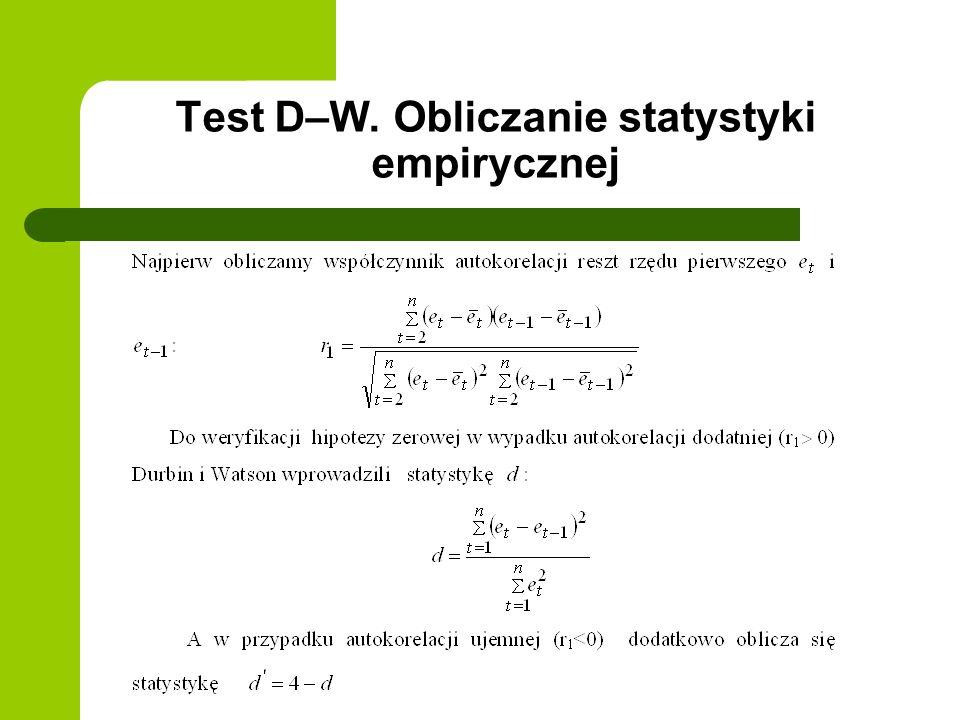 Test D–W. Obliczanie statystyki empirycznej