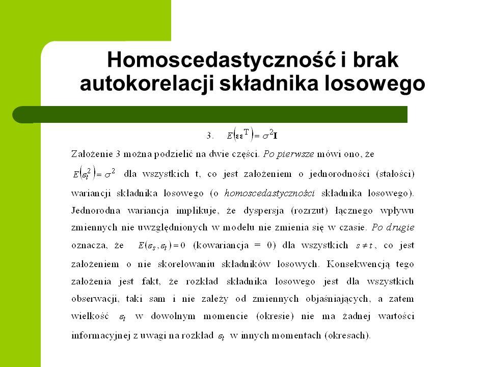 Homoscedastyczność i brak autokorelacji składnika losowego