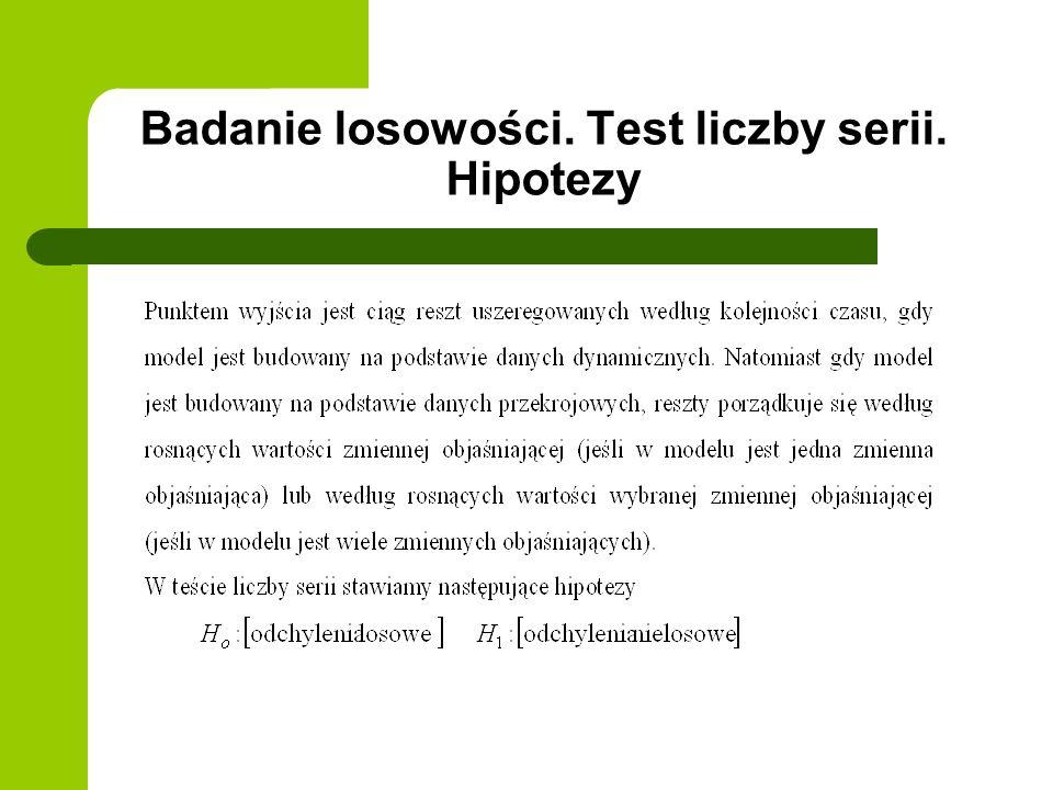 Badanie losowości. Test liczby serii. Hipotezy