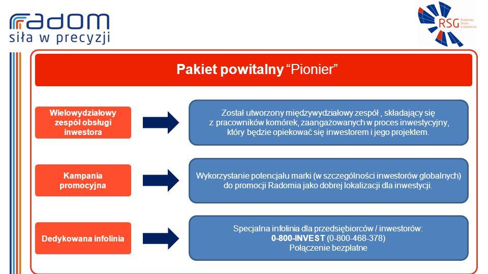 Pakiet powitalny Pionier Wielowydziałowy zespół obsługi inwestora Został utworzony międzywydziałowy zespół, składający się z pracowników komórek, zaangażowanych w proces inwestycyjny, który będzie opiekować się inwestorem i jego projektem.