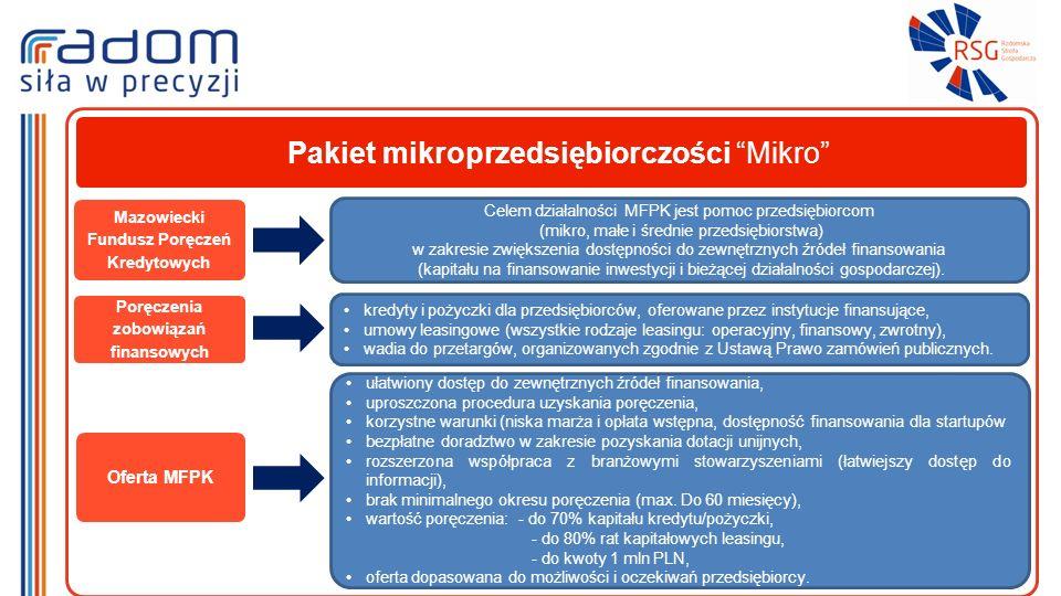Mazowiecki Fundusz Poręczeń Kredytowych Celem działalności MFPK jest pomoc przedsiębiorcom (mikro, małe i średnie przedsiębiorstwa) w zakresie zwiększenia dostępności do zewnętrznych źródeł finansowania (kapitału na finansowanie inwestycji i bieżącej działalności gospodarczej).