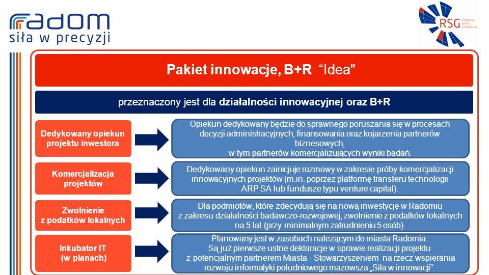 Pakiet innowacje, B+R Idea Dedykowany opiekun projektu inwestora Opiekun dedykowany będzie do sprawnego poruszania się w procesach decyzji administracyjnych, finansowania oraz kojarzenia partnerów biznesowych, w tym partnerów komercjalizujących wyniki badań.