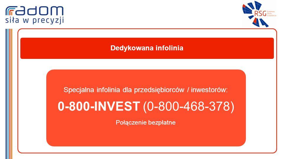 Dedykowana infolinia Specjalna infolinia dla przedsiębiorców / inwestorów: 0-800-INVEST (0-800-468-378) Połączenie bezpłatne