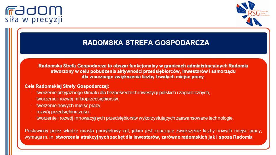 Radomska Strefa Gospodarcza to obszar funkcjonalny w granicach administracyjnych Radomia utworzony w celu pobudzenia aktywności przedsiębiorców, inwestorów i samorządu dla znacznego zwiększenia liczby trwałych miejsc pracy.