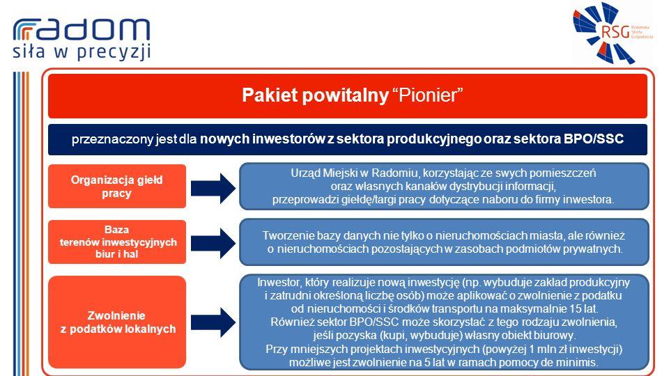 Pakiet powitalny Pionier Organizacja giełd pracy Urząd Miejski w Radomiu, korzystając ze swych pomieszczeń oraz własnych kanałów dystrybucji informacji, przeprowadzi giełdę/targi pracy dotyczące naboru do firmy inwestora.