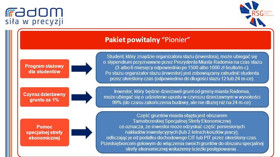 Pakiet powitalny Pionier Program stażowy dla studentów Student, który znajdzie organizatora stażu (inwestora), może ubiegać się o stypendium przyznawane przez Prezydenta Miasta Radomia na czas stażu (3 albo 6 miesięcy odpowiednio po 1500 albo 1000 zł brutto/m-c).