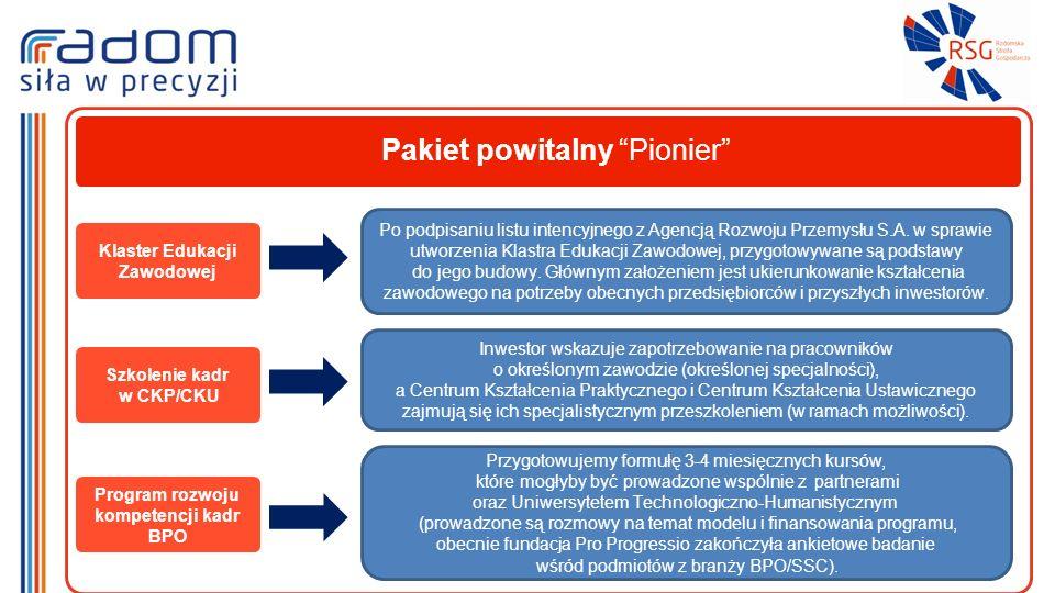 Pakiet powitalny Pionier Klaster Edukacji Zawodowej Po podpisaniu listu intencyjnego z Agencją Rozwoju Przemysłu S.A.