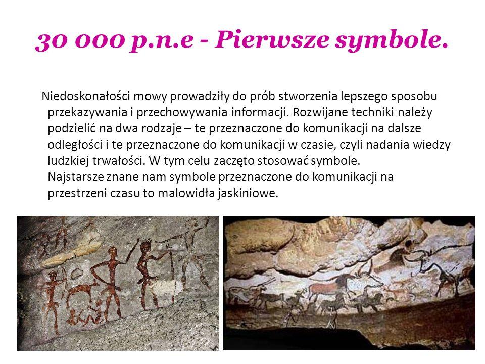 30 000 p.n.e - Pierwsze symbole. Niedoskonałości mowy prowadziły do prób stworzenia lepszego sposobu przekazywania i przechowywania informacji. Rozwij