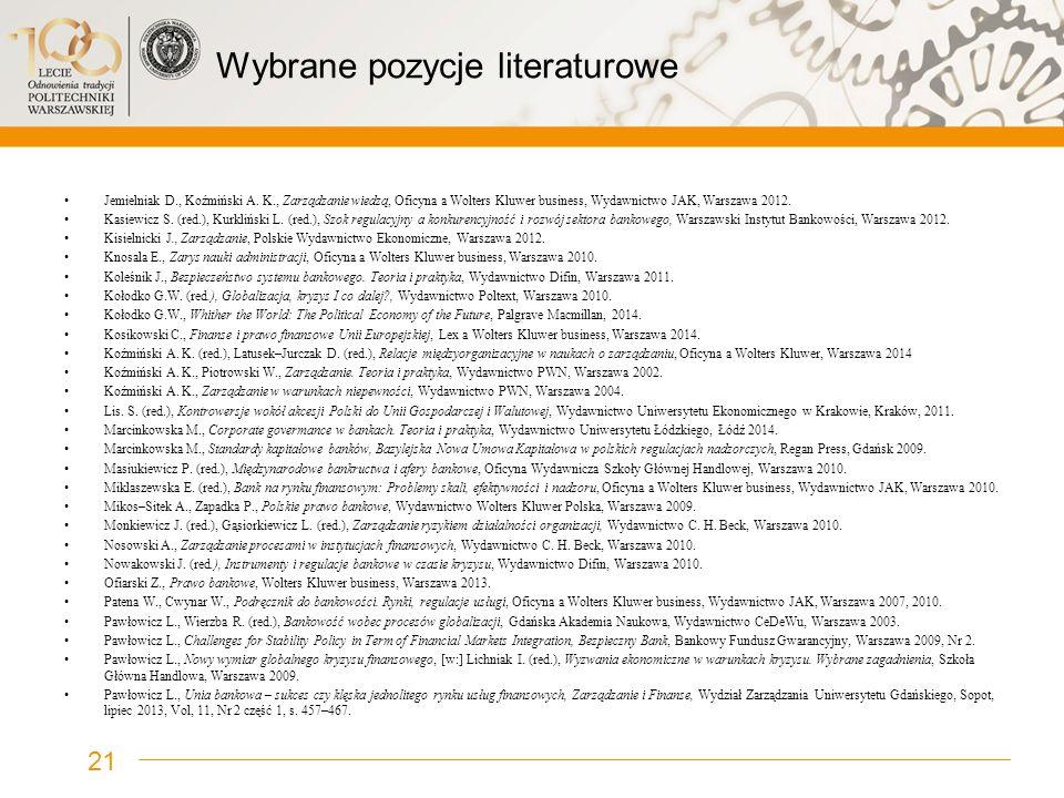 Wybrane pozycje literaturowe Jemielniak D., Koźmiński A. K., Zarządzanie wiedzą, Oficyna a Wolters Kluwer business, Wydawnictwo JAK, Warszawa 2012. Ka
