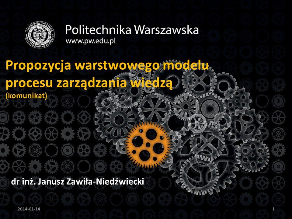 12 Warstwy zarządzania wiedzą Podejście zrównoważone i zintegrowane do zarządzania wiedzą jest oparte na elementach kilku podejść, łącząc je na zasadzie warstw postrzeganych przez analogię do usług sieciowych (tzw.
