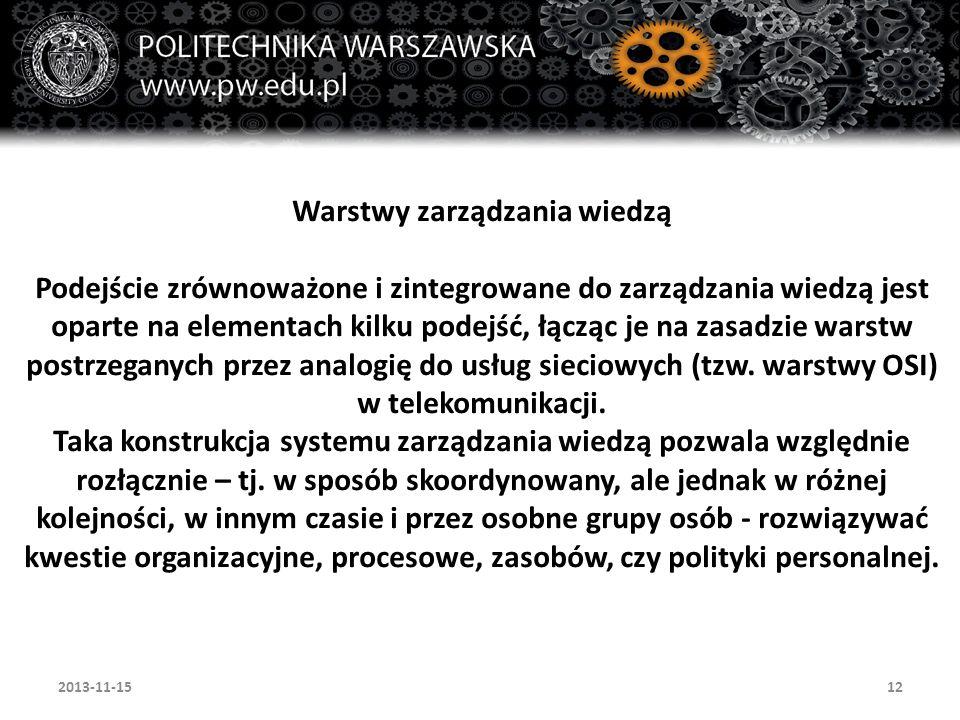12 Warstwy zarządzania wiedzą Podejście zrównoważone i zintegrowane do zarządzania wiedzą jest oparte na elementach kilku podejść, łącząc je na zasadz