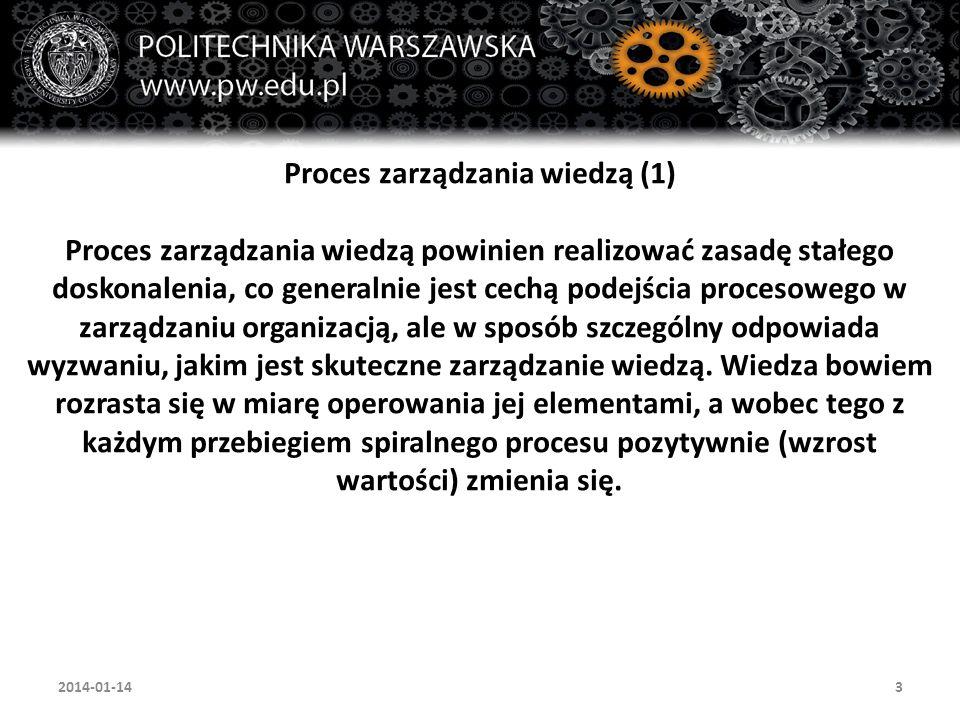 3 Proces zarządzania wiedzą (1) Proces zarządzania wiedzą powinien realizować zasadę stałego doskonalenia, co generalnie jest cechą podejścia procesow