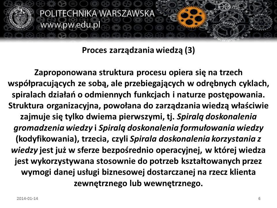 6 Proces zarządzania wiedzą (3) Zaproponowana struktura procesu opiera się na trzech współpracujących ze sobą, ale przebiegających w odrębnych cyklach