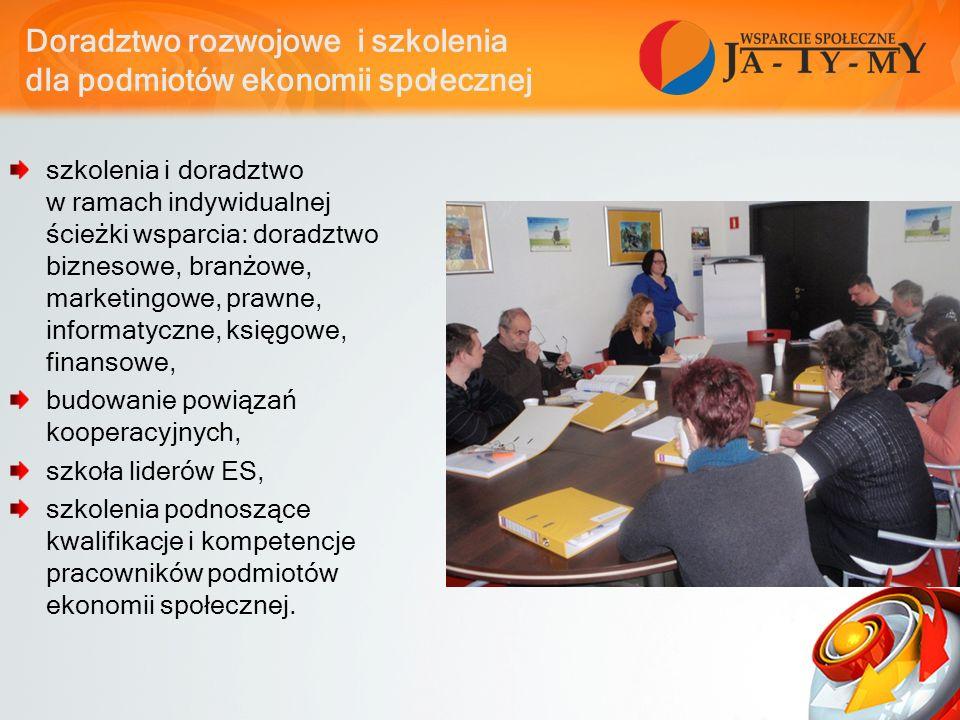 Doradztwo rozwojowe i szkolenia dla podmiotów ekonomii społecznej szkolenia i doradztwo w ramach indywidualnej ścieżki wsparcia: doradztwo biznesowe, branżowe, marketingowe, prawne, informatyczne, księgowe, finansowe, budowanie powiązań kooperacyjnych, szkoła liderów ES, szkolenia podnoszące kwalifikacje i kompetencje pracowników podmiotów ekonomii społecznej.