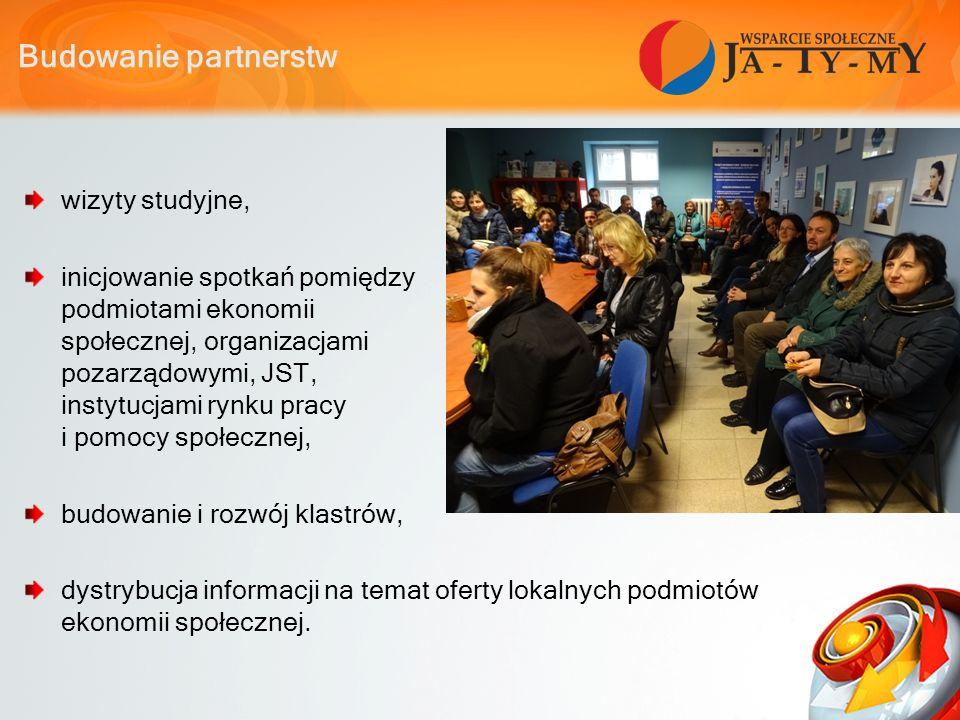 Budowanie partnerstw wizyty studyjne, inicjowanie spotkań pomiędzy podmiotami ekonomii społecznej, organizacjami pozarządowymi, JST, instytucjami rynku pracy i pomocy społecznej, budowanie i rozwój klastrów, dystrybucja informacji na temat oferty lokalnych podmiotów ekonomii społecznej.