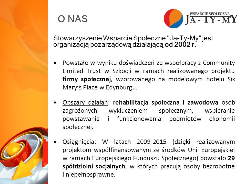 O NAS Stowarzyszenie Wsparcie Społeczne Ja-Ty-My jest organizacją pozarządową działającą od 2002 r.