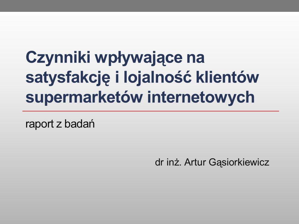 Czynniki wpływające na satysfakcję i lojalność klientów supermarketów internetowych dr inż. Artur Gąsiorkiewicz raport z badań