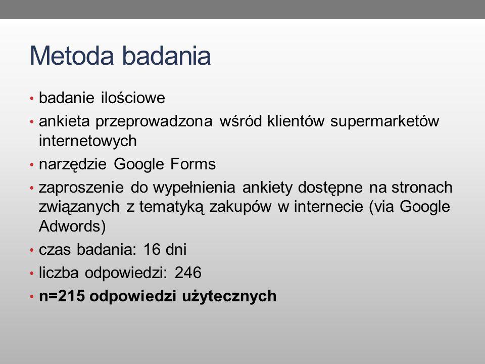 Metoda badania badanie ilościowe ankieta przeprowadzona wśród klientów supermarketów internetowych narzędzie Google Forms zaproszenie do wypełnienia ankiety dostępne na stronach związanych z tematyką zakupów w internecie (via Google Adwords) czas badania: 16 dni liczba odpowiedzi: 246 n=215 odpowiedzi użytecznych