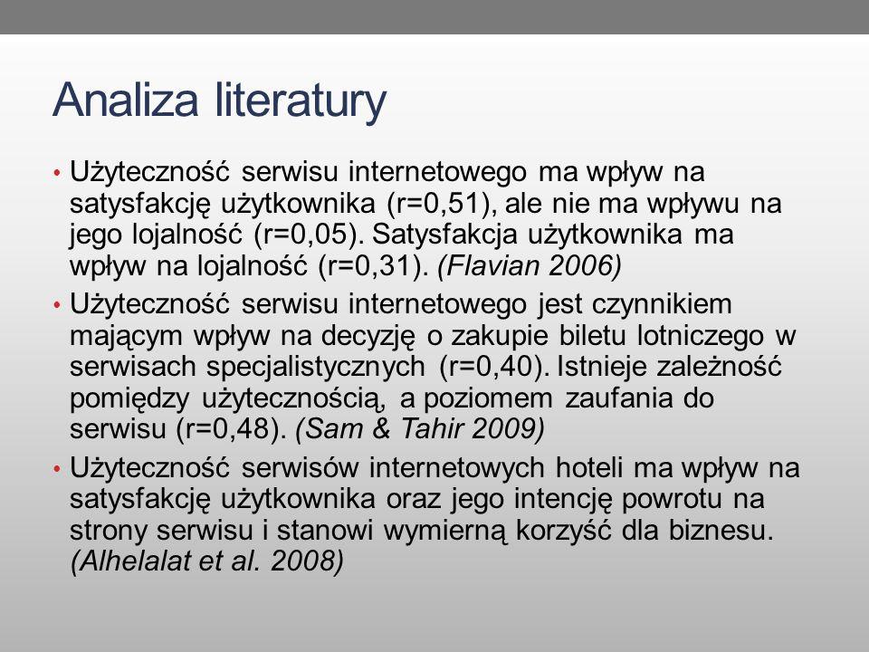 Analiza literatury Użyteczność serwisu internetowego ma wpływ na satysfakcję użytkownika (r=0,51), ale nie ma wpływu na jego lojalność (r=0,05). Satys