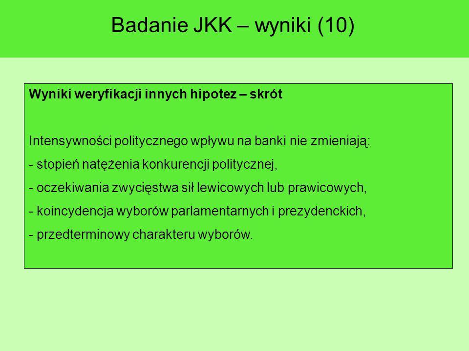 Badanie JKK – wyniki (10) Wyniki weryfikacji innych hipotez – skrót Intensywności politycznego wpływu na banki nie zmieniają: - stopień natężenia konkurencji politycznej, - oczekiwania zwycięstwa sił lewicowych lub prawicowych, - koincydencja wyborów parlamentarnych i prezydenckich, - przedterminowy charakteru wyborów.
