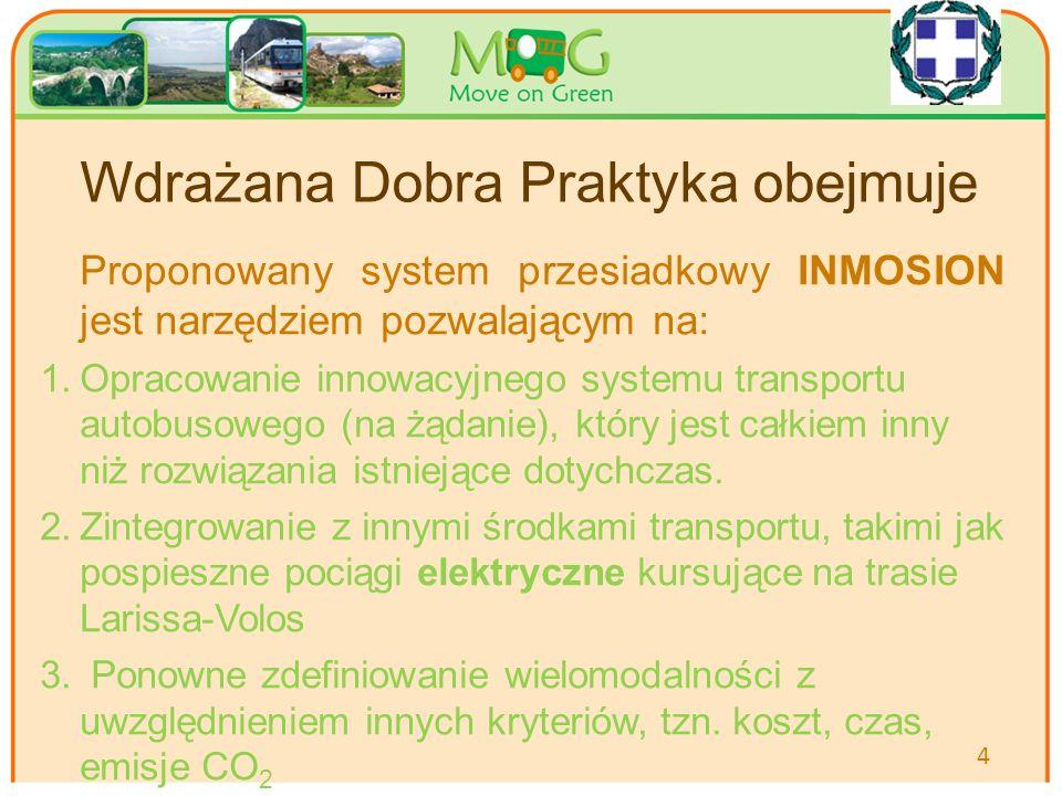 Your logo Here Wdrażana Dobra Praktyka obejmuje Proponowany system przesiadkowy INMOSION jest narzędziem pozwalającym na: 1.Opracowanie innowacyjnego systemu transportu autobusowego (na żądanie), który jest całkiem inny niż rozwiązania istniejące dotychczas.