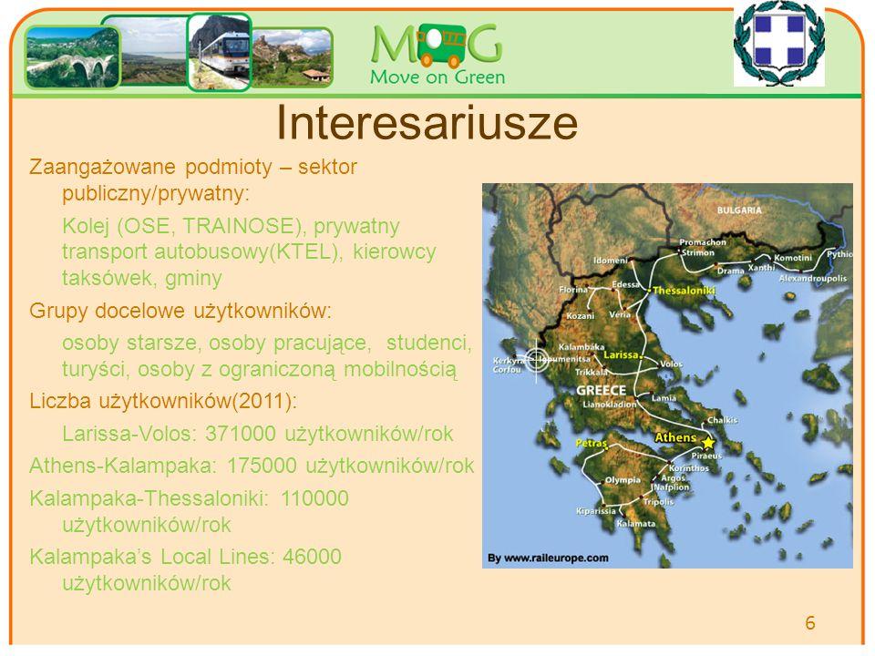 Your logo Here Interesariusze Zaangażowane podmioty – sektor publiczny/prywatny: Kolej (OSE, TRAINOSE), prywatny transport autobusowy(KTEL), kierowcy taksówek, gminy Grupy docelowe użytkowników: osoby starsze, osoby pracujące, studenci, turyści, osoby z ograniczoną mobilnością Liczba użytkowników(2011): Larissa-Volos: 371000 użytkowników/rok Athens-Kalampaka: 175000 użytkowników/rok Kalampaka-Thessaloniki: 110000 użytkowników/rok Kalampaka's Local Lines: 46000 użytkowników/rok 6