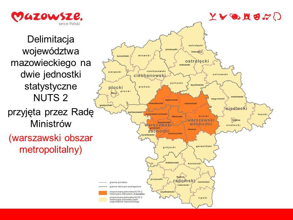 Delimitacja województwa mazowieckiego na dwie jednostki statystyczne NUTS 2 przyjęta przez Radę Ministrów (warszawski obszar metropolitalny)