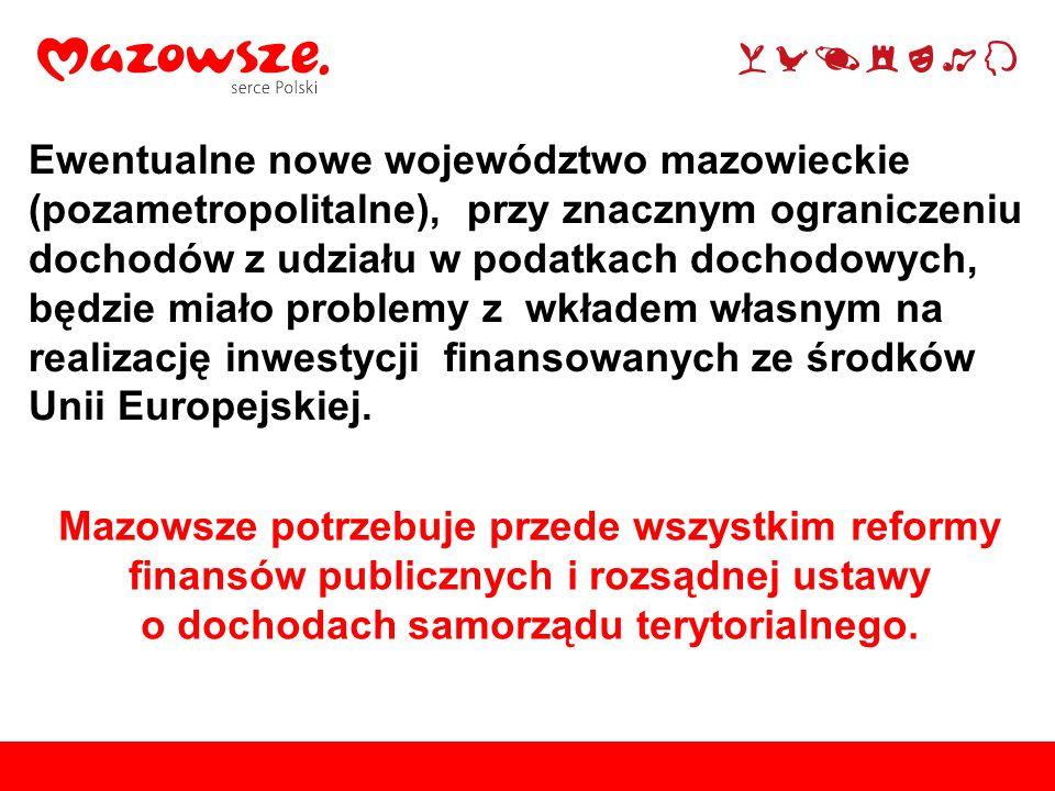 Mazowsze potrzebuje przede wszystkim reformy finansów publicznych i rozsądnej ustawy o dochodach samorządu terytorialnego. Ewentualne nowe województwo