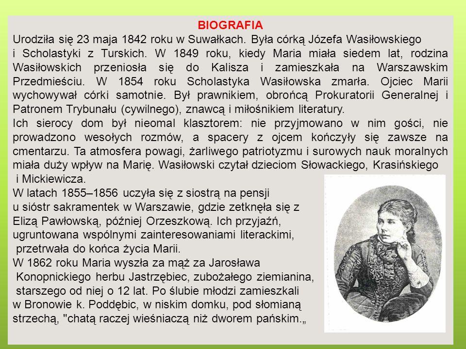 BIOGRAFIA Urodziła się 23 maja 1842 roku w Suwałkach. Była córką Józefa Wasiłowskiego i Scholastyki z Turskich. W 1849 roku, kiedy Maria miała siedem