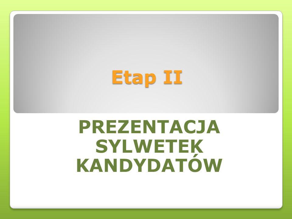 Etap II PREZENTACJA SYLWETEK KANDYDATÓW